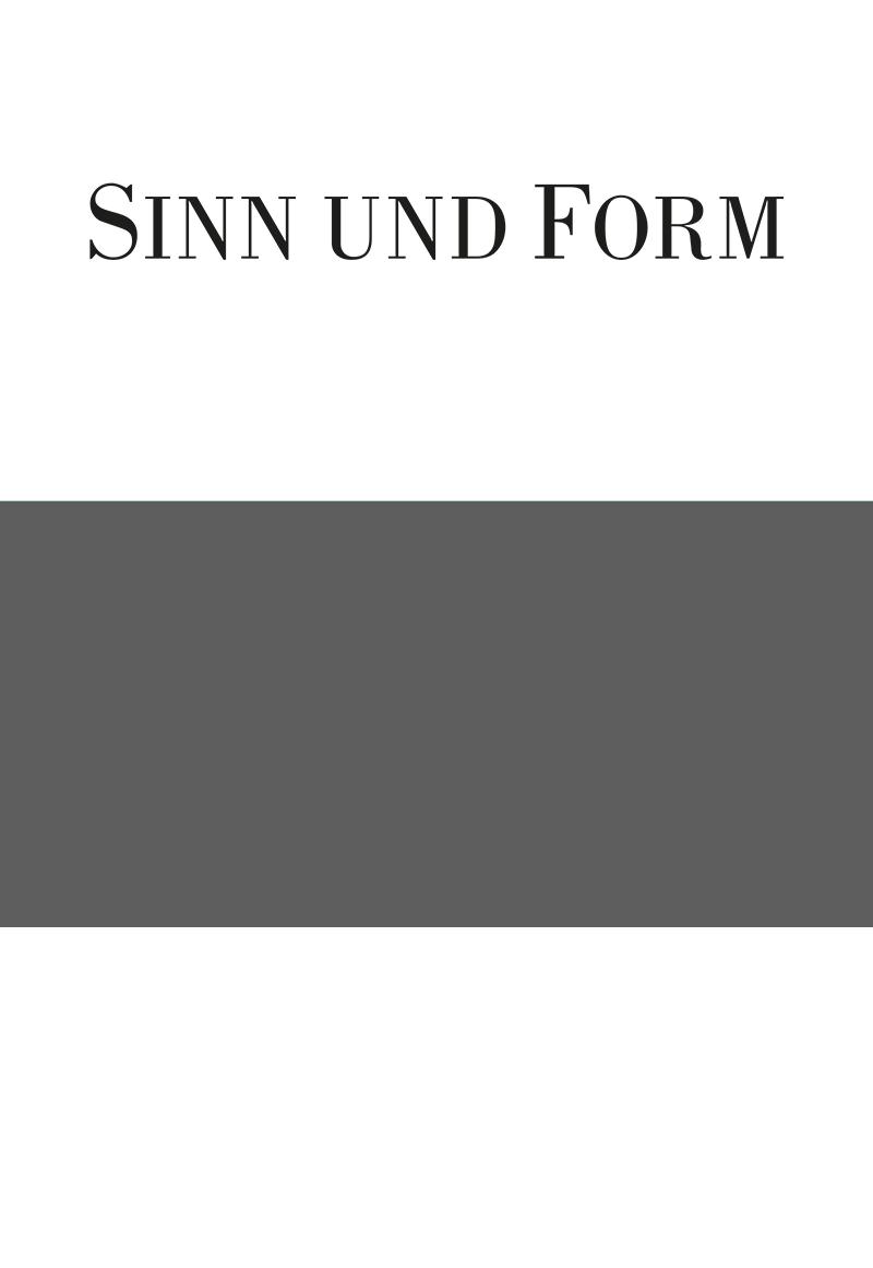 Heftarchiv – Jahrgänge :: Jahrgang 2007 :: SINN UND FORM